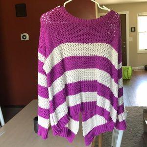 Open back knit sweater
